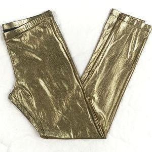 BCBGMaxAzria Pants - Gold Metallic Runway Foilprinted Legging Bottoms